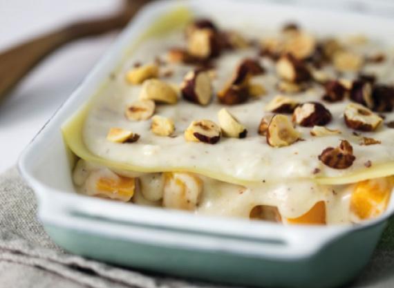 Lasagnes à la courge butternut et noisettes